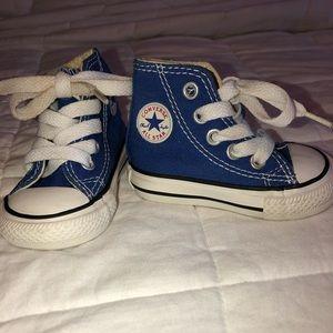 Blue high top converse